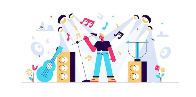 Illustrazione di canto concetto di persone di piccola performance musicale. festival astratto di concerti sonori con spettacolo di intrattenimento vocale della band. melodia karaoke da palcoscenico con studio rock, composizione pop.