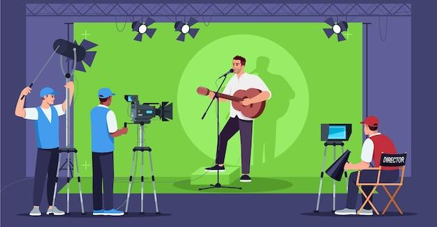 Spettacolo di canto semi. nuova serie tv. equipaggio professionale televisivo. intrattenimento multimediale. uomo che suona la chitarra e canta