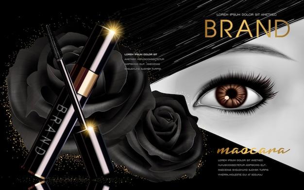 Singolo occhio luminoso ed elementi floreali di rosa nera per uso pubblicitario