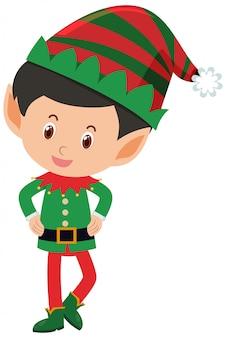 Singolo personaggio di felice elfo su bianco Vettore Premium