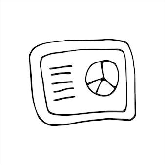 Singolo elemento del grafico sul computer portatile nel set di affari di doodle. illustrazione vettoriale disegnata a mano per carte, poster, adesivi e design professionale.