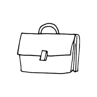 Singolo elemento della borsa nel set di affari di doodle. illustrazione vettoriale disegnata a mano per carte, poster, adesivi e design professionale.