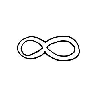 Singolo elemento di infinito nel set di affari di doodle. illustrazione vettoriale disegnata a mano per carte, poster, adesivi e design professionale.