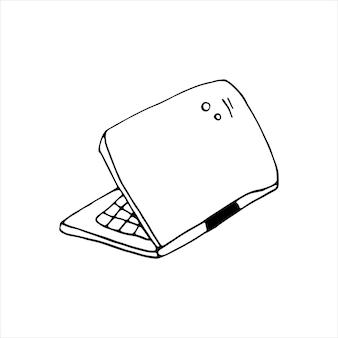 Singolo elemento di laptop, computer nel set di affari di doodle. illustrazione vettoriale disegnata a mano per carte, poster, adesivi e design professionale.