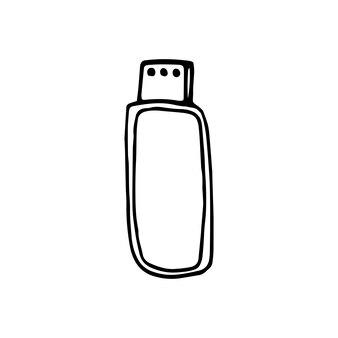 Singolo elemento della scheda usb nel set di affari di doodle. illustrazione vettoriale disegnata a mano per carte, poster, adesivi e design professionale.