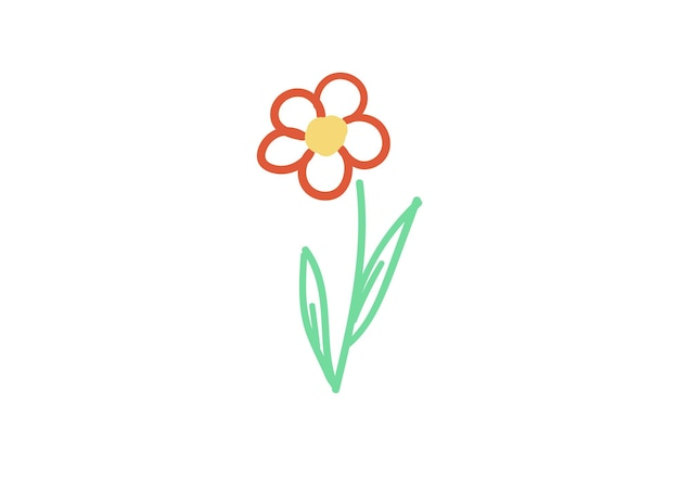 Singolo elemento floreale fiore handdraw semplice illustrazione vettoriale