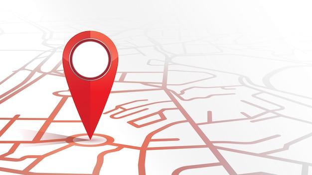 Il singolo colore rosso dell'icona del perno del gps mock su forma la mappa stradale su fondo bianco