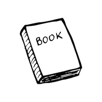 Singolo libro disegnato a mano doodle illustrazione vettoriale in carino stile scandinavo