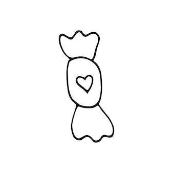 Caramella elemento singolo disegnato a mano con cuore per biglietti di auguri, poster, adesivi e design stagionale. isolato su sfondo bianco. illustrazione vettoriale di scarabocchio.