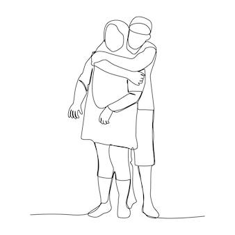 Famiglia asiatica disegno a linea singola i suoi figli abbracciano madre. ragazzo asiatico gioioso con sua madre. stile di vita di relazioni di fiducia a casa.