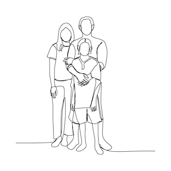 Famiglia asiatica del disegno a linea singola che tiene i loro figli e marito. una linea arte felicità insieme.