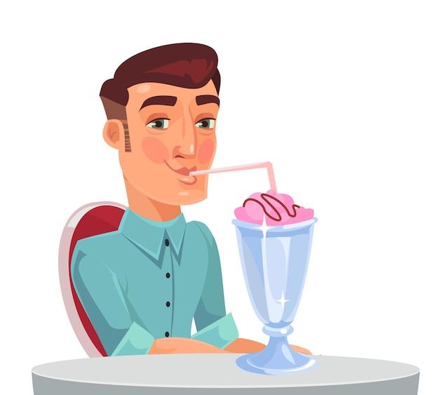 Carattere di uomo singolo bere cocktail da solo nella caffetteria.