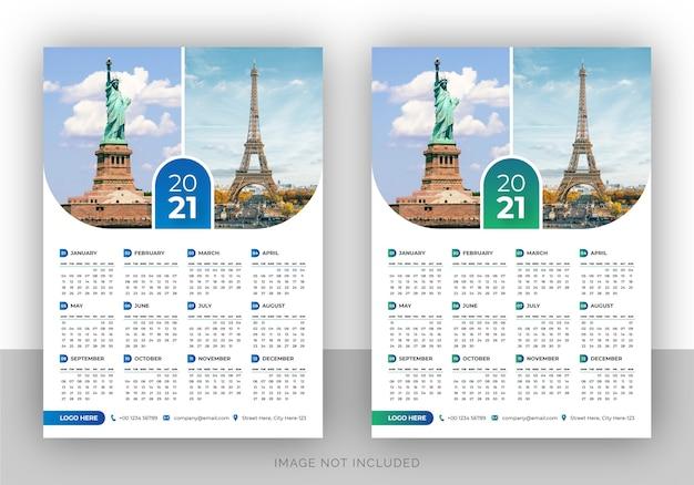 Modello di progettazione del calendario da parete dell'agenzia di viaggi colorato a pagina singola per il nuovo anno