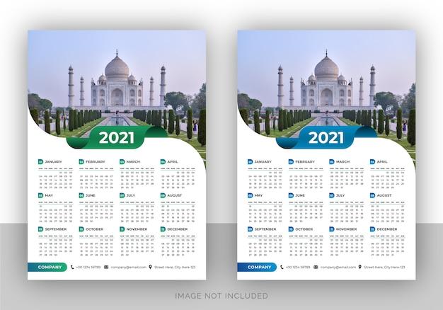 Modello di progettazione del calendario da parete dell'agenzia di viaggi colorato a pagina singola