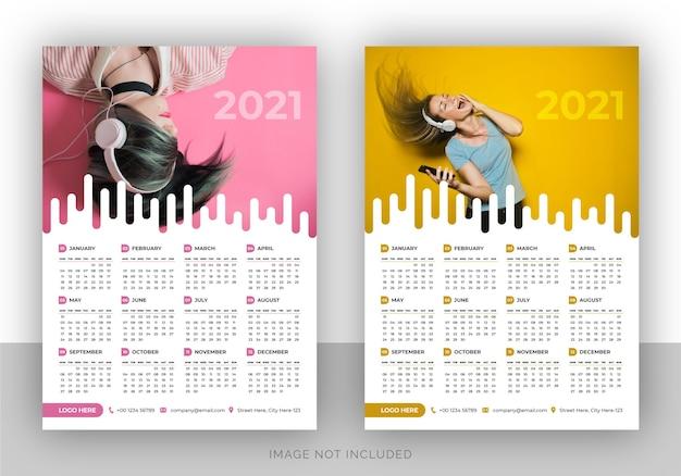 Modello di progettazione di calendario da parete elegante pagina singola per il nuovo anno