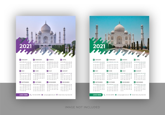 Modello di progettazione calendario da parete elegante pagina singola con colore sfumato per agenzia di viaggi
