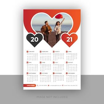 Modello di progettazione di calendario da parete a pagina singola