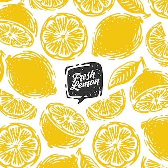 Modello singolo di doodle disegnato a mano limone con lettere scritte a mano