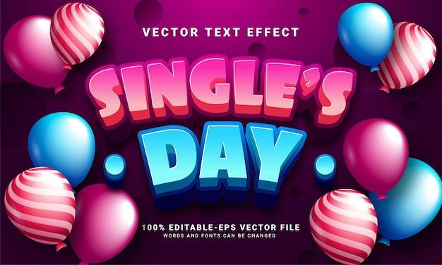 Effetto testo 3d per il giorno del single, stile di testo modificabile e adatto per celebrare il giorno del single