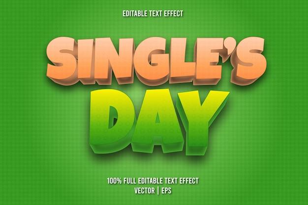 Effetto di testo modificabile per il giorno dei single in stile fumetto