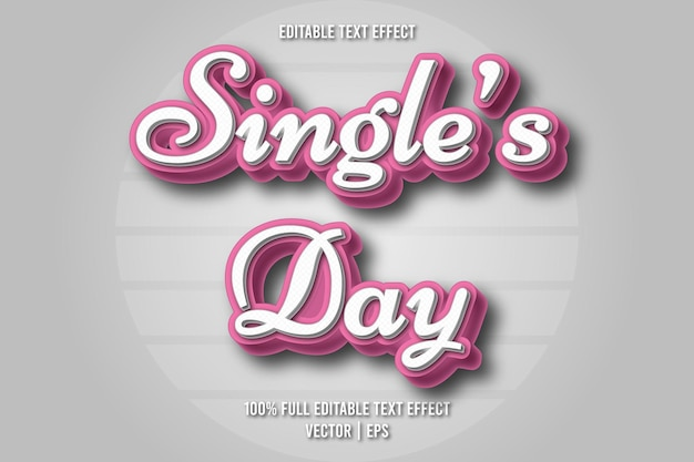 Effetto di testo modificabile per il giorno del single in stile retrò