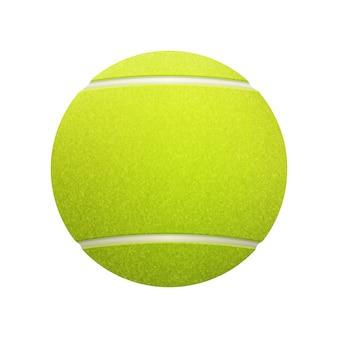 Singola pallina da tennis su sfondo bianco.