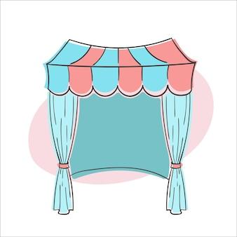 Singola immagine vettoriale di tenda da sole tenda da sole in tessuto nei colori rosa e blu