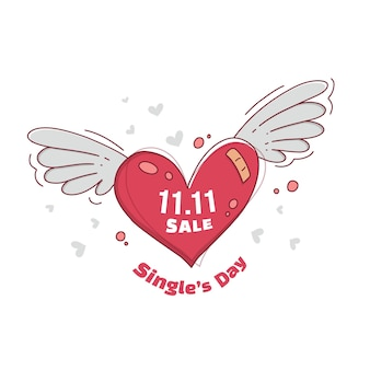 Singles day vendita cuore che vola