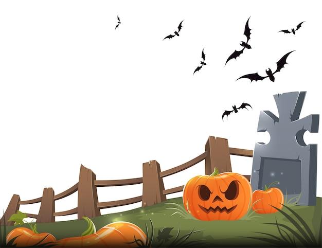 Sinistra zucca intagliata con una tomba, staccionata in legno e pipistrelli su uno sfondo bianco.