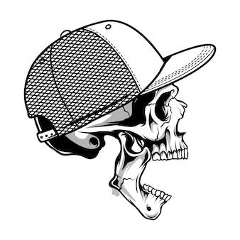 Bocca sinistra del cranio spalancata che indossa un'illustrazione del cappello