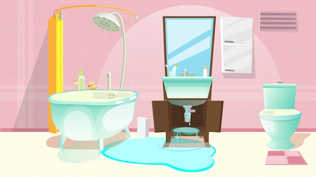 Lavello riparazione, tubo rotto o danneggiato in bagno.