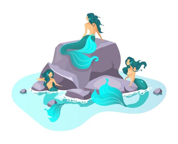 Illustrazione piatta sirene fata creatura in mare. fantastica bestia mezza donna. mostri incantevoli. mitologia greca. sirene su scogliera isolato personaggio dei cartoni animati su sfondo bianco