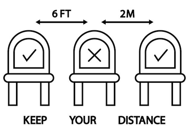 Non sederti qui. segnaletica per ristoranti e locali pubblici o mezzi di trasporto. distanziamento sociale, distanza fisica seduto su una sedia pubblica, icona di contorno. tratto modificabile. mantieni le distanze. vettore