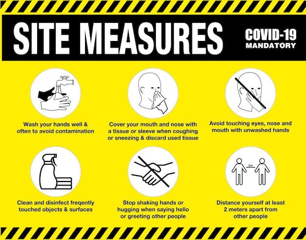 Misure del sito obbligatorie o segnaletica di sicurezza del sito o protocolli di salute e sicurezza in cantiere