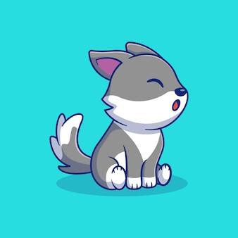Seduto carino piccolo lupo illustrazione vettoriale design