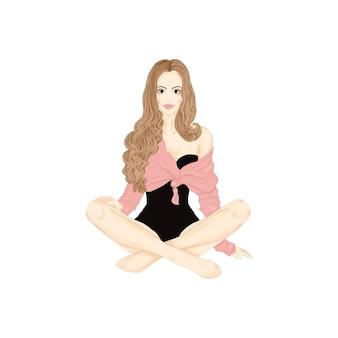 Ragazza seduta in giacca rosa