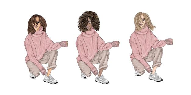 Ragazza seduta in maglione rosa