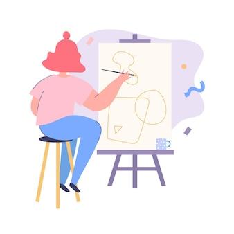 Donna seduta che dipinge davanti al cavalletto