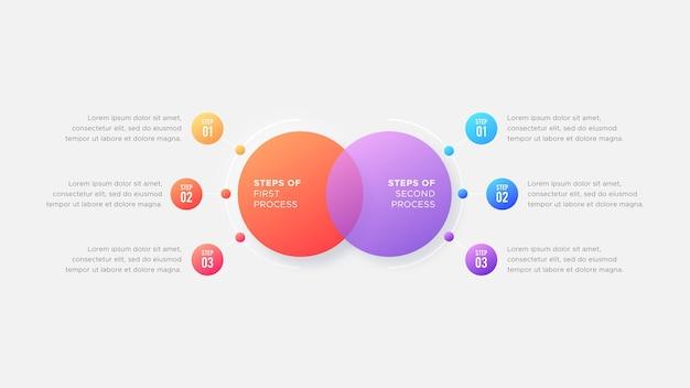 Sei 6 passaggi opzioni cerchio confronto infografica affari modello design moderno