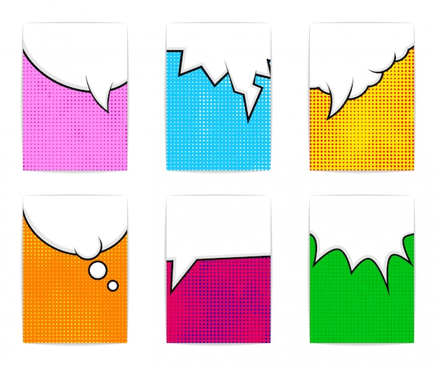 Sei modelli di poster colorati luminosi. stile di fumetti.
