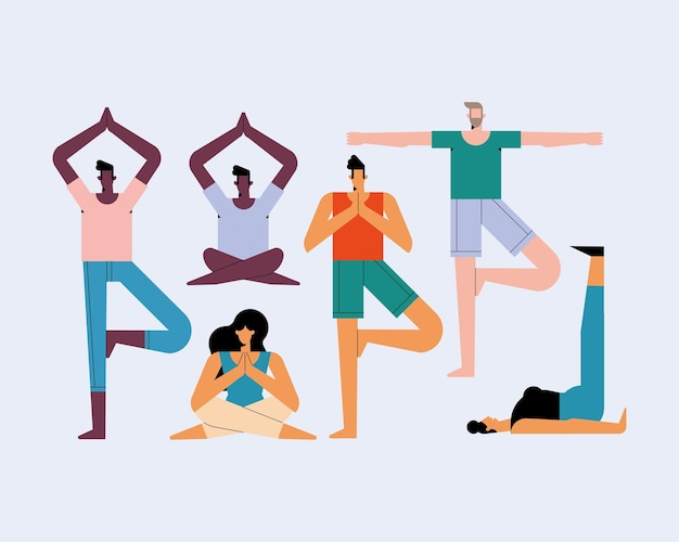 Sei personaggi che praticano posizioni yoga