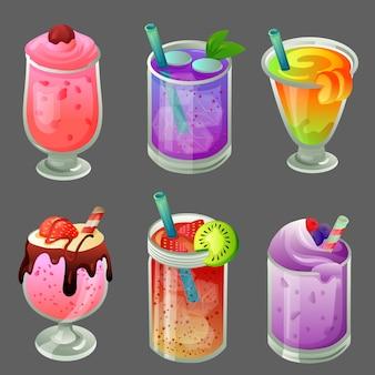 Sei set di bevande per bevande fredde