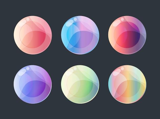 Sei pulsanti sfumati colorati per l'interfaccia utente web dei giochi mobili
