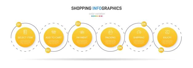 Sei elementi grafici colorati per i passaggi successivi del processo di acquisto con icone e testo