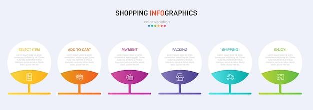 Sei elementi grafici colorati per i passaggi successivi del processo di acquisto con icone e testo Vettore Premium