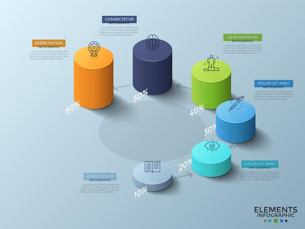 Sei cilindri isometrici colorati di varia altezza con icone lineari in alto e indicazione della percentuale posizionate attorno al cerchio e collegate da frecce. modello di progettazione infografica. illustrazione vettoriale.