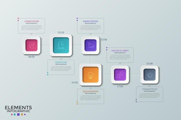 Sei elementi quadrati colorati con icone a linee sottili all'interno e indicazione dell'ora disposte nella timeline. concetto di pianificatore giornaliero, pianificazione degli appuntamenti. modello di progettazione infografica. illustrazione vettoriale.