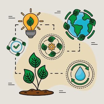 Sei illustrazioni di ecologia