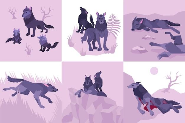 Sei icone piatte mowgli isolate con l'ululato dei lupi sconfitti sanguinanti uccisi e illustrazione in esecuzione