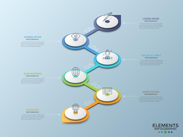Sei elementi bianchi circolari isometrici con icone lineari collegate da una linea a zigzag verticale colorata sfumata. concetto di 6 fasi di sviluppo del progetto. modello di progettazione infografica. illustrazione vettoriale.
